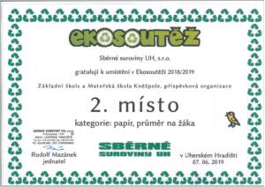 Ekosoutěž - diplom 2018-2019